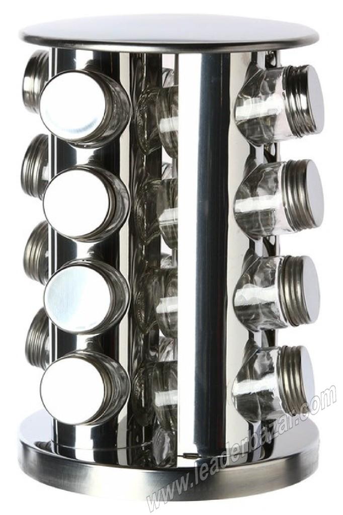 Présentoir à épices rotatif en inox avec 16 pots