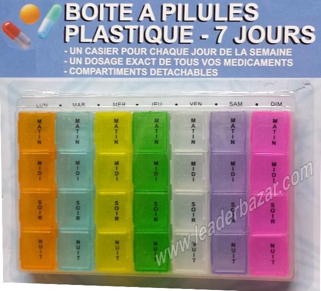Boite à pilules, médicaments détachable 7 Jours en couleur