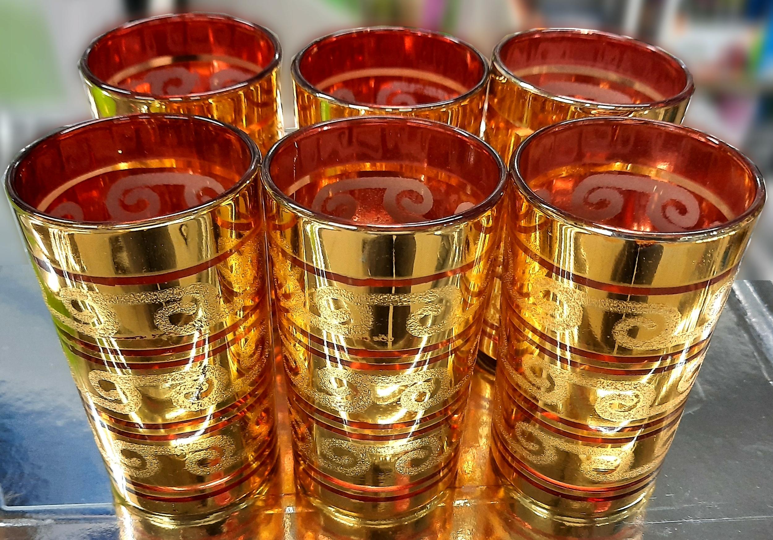 6 Verres à thé doré