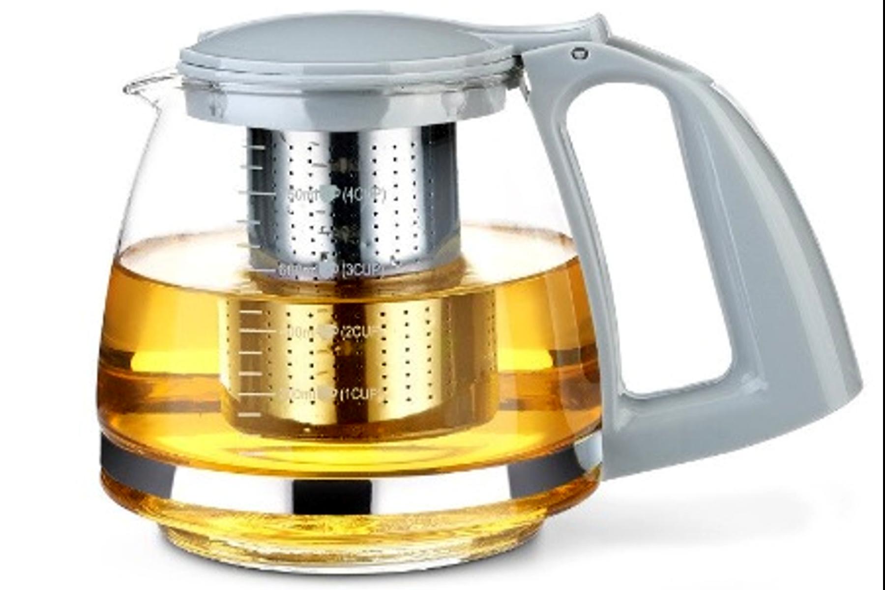 Théière en verre avec filtre en acier inoxydable