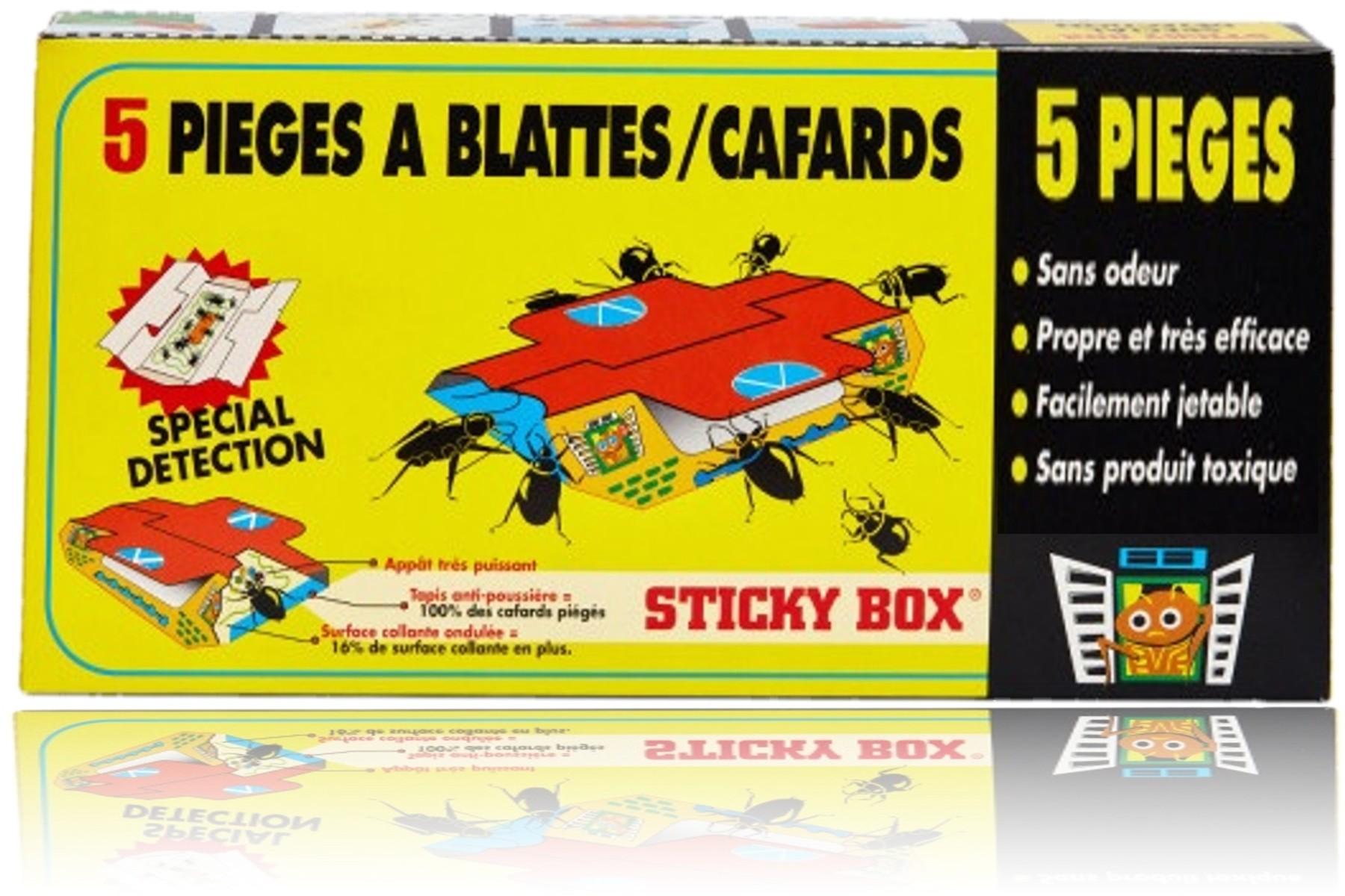 5 pièges à cafards et blattes Sticky Box