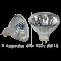 2 Ampoules halogènes 42 W 230V MR16