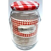 Pot ou bocal à conserve couvercle vichy 1 litre