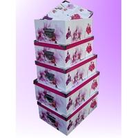 Série de 5 Boîtes de Rangement décore fleurs orchidée