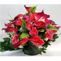 Bouquet de fleurs artificielles orchidée sur socle