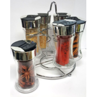Présentoir  de 6 pots à épices en verre