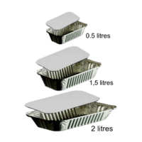 10 Barquettes Aluminium avec couvercle
