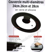 Couvercle multi-diamètres 24 cm, 26 cm et 28 cm 24 cm, 26 cm et 28 cm