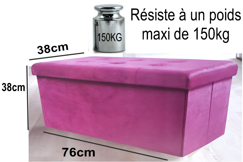 Pouf Banc Coffre Pliable De 76x38x38cm Rangement