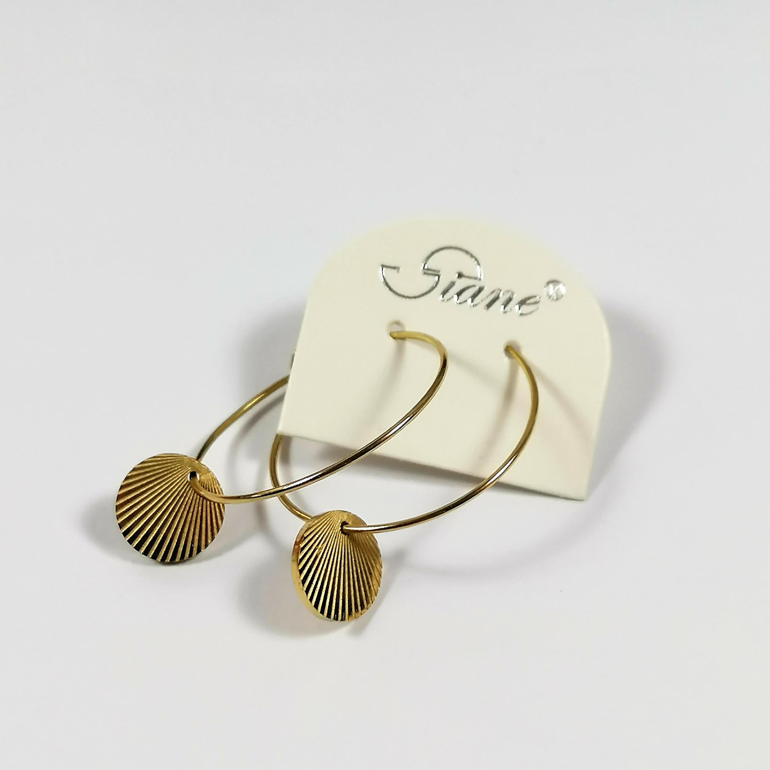 Boucles d\'oreilles créoles fantaisie acier doré FLAV