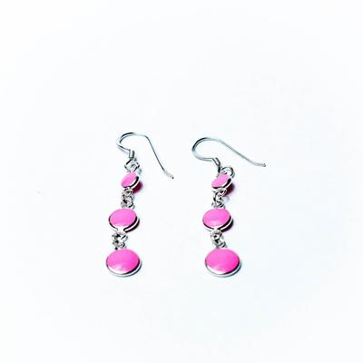 Boucles d'oreilles argent en cascade rose émaillées