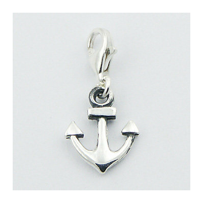 Charms argent, ancre marine