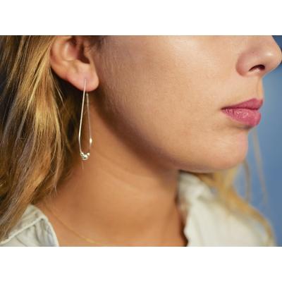 Boucles d'oreilles créoles ovales perles argent - MIRY