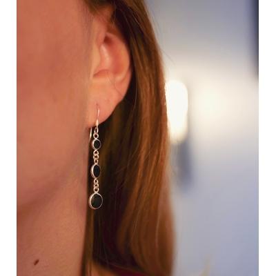 Boucles d'oreilles argent et noir - Cascade -