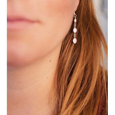 Boucles d'oreilles argent et blanc - Cascade -