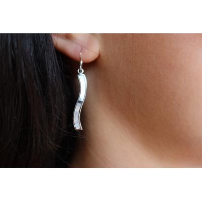 Boucles d'oreilles argent et nacre - ONDE