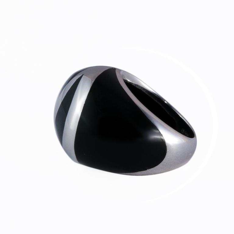 Bague bombée noire -LONA -
