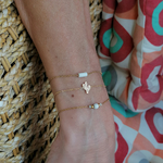 Bracelets acier cactus blanc doré