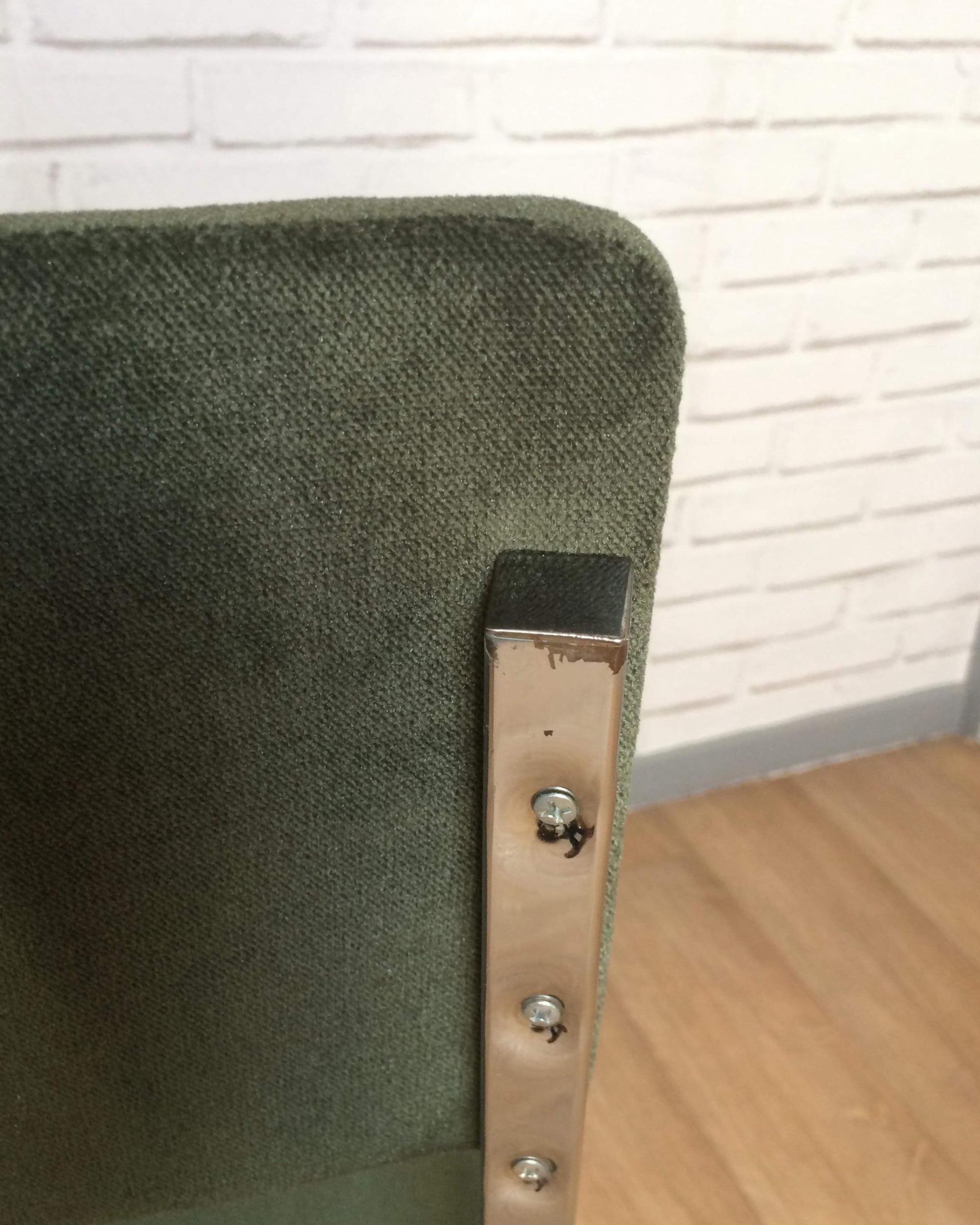 Chaise Chromée Années 60 Velours Vert Kaki Nos Chaises