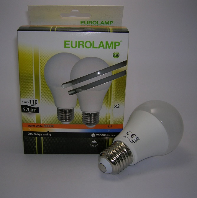 Lot de 2 ampoules LED A60 E27 - 11W 3000 kelvin