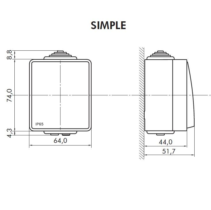 Dimensions interrupteur etanche48 efapel