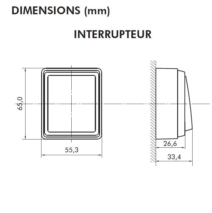 Dimensions interrupteur série3700 efapel