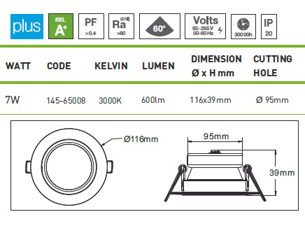 Downlight LED spot recessed 7W dim
