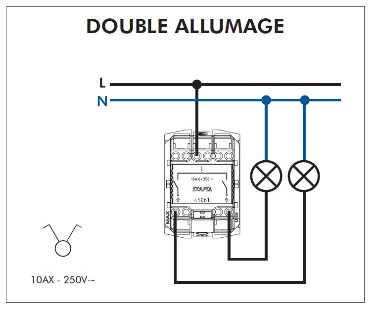 FT Interrupteur double allumage Quadro45 efapel