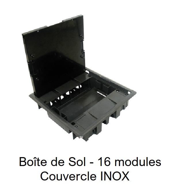 Boite de sol 16 modules couvercle inox 83008CAI et CZI