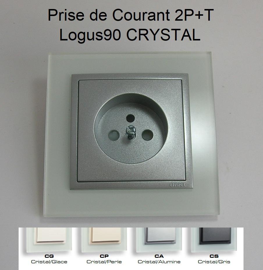 Prise de courant Française 2P+T - Logus90 CRYSTAL