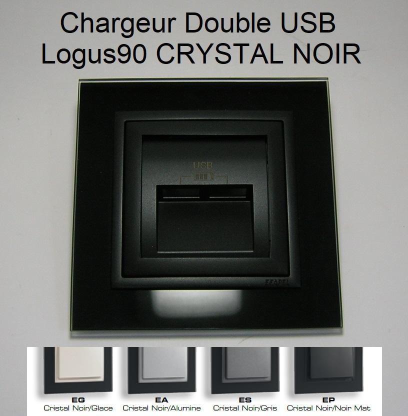 Chargeur Double USB - Logus90 CRYSTAL NOIR