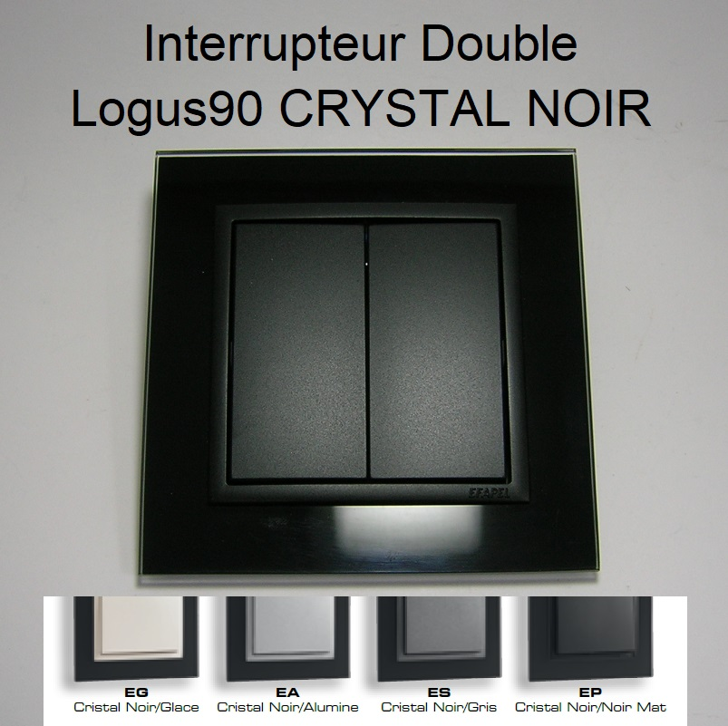 Interrupteur Double - Logus90 CRYSTAL NOIR