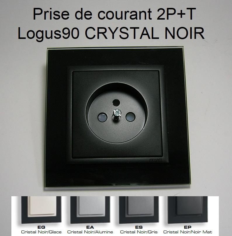 Prise de courant Française 2P+T - Logus90 CRYSTAL NOIR