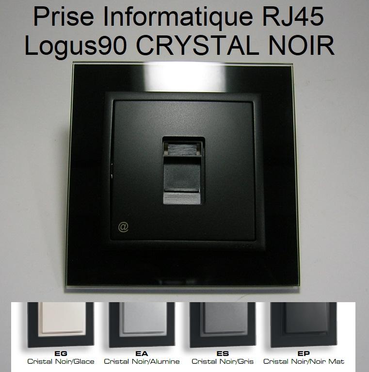 Prise Informatique RJ45 - Logus90 CRYSTAL NOIR