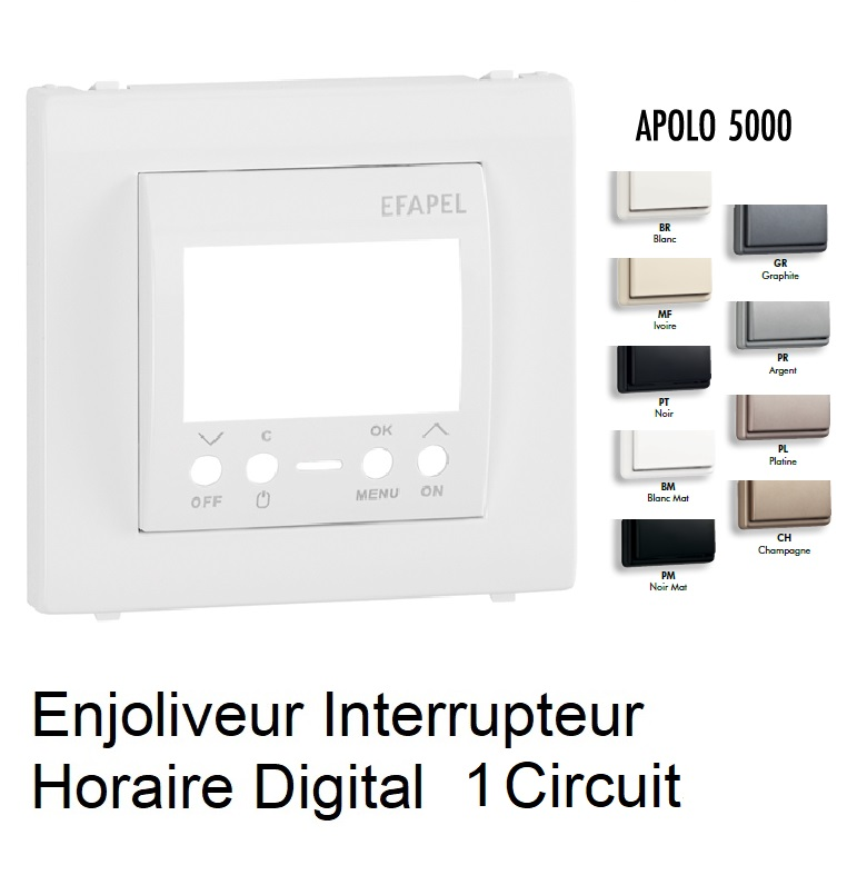 Enjoliveur Interrupteur Horaire Digital 1 circuit - Apolo5000
