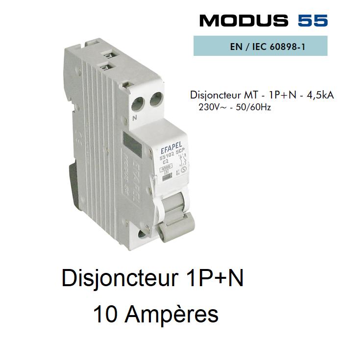 Disjoncteur Magnétothermique PLUS - 1P+N - 4,5kA - 10A