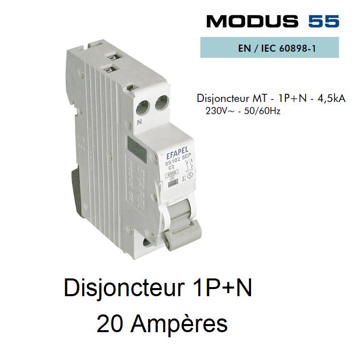 Disjoncteur Magnétothermique PLUS - 1P+N - 4,5kA - 20A
