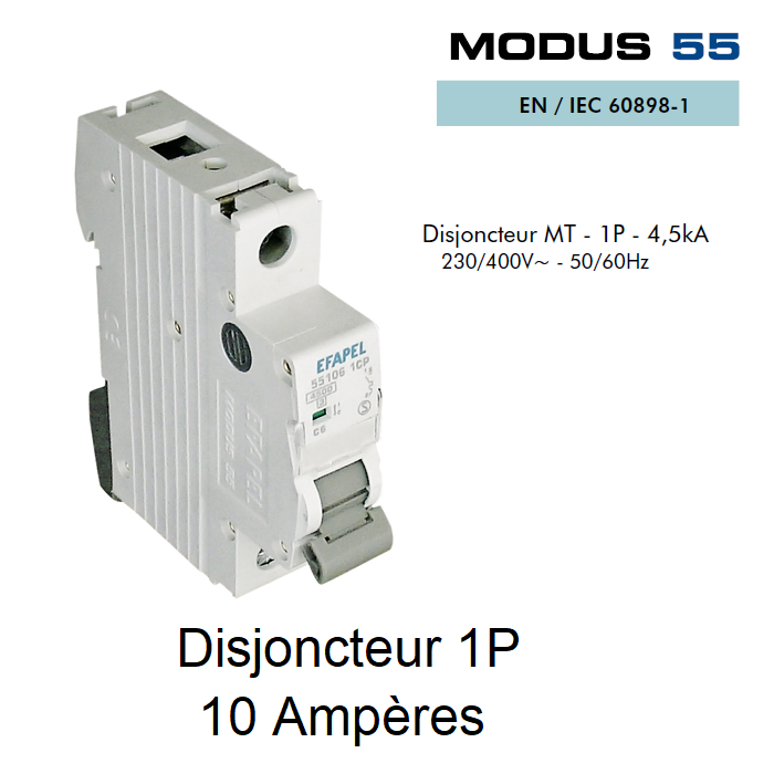 Disjoncteur Magnétothermique PLUS - 1P - 4,5kA - 10A