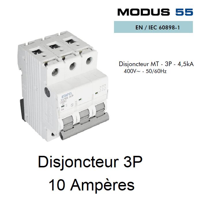 Disjoncteur Magnétothermique - 3P - 4,5kA - 10A