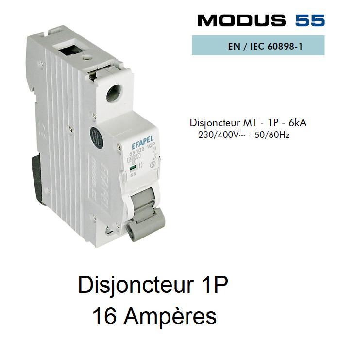 Disjoncteur Magnétothermique 1P - 6kA - 16A