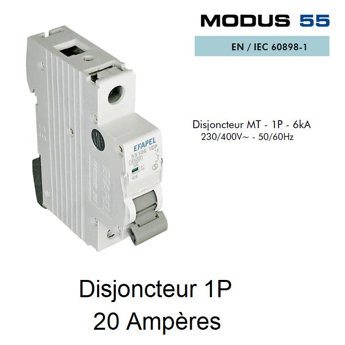 Disjoncteur Magnétothermique 1P - 6kA - 20A