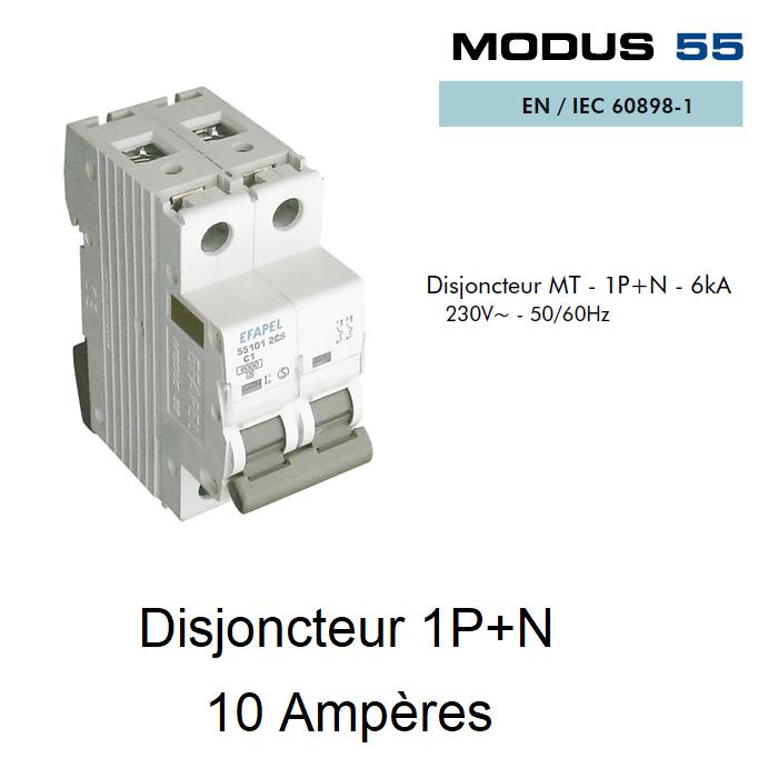 Disjoncteur Magnétothermique 1P+N - 6kA - 10A