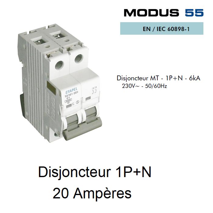 Disjoncteur Magnétothermique 1P+N - 6kA - 20A