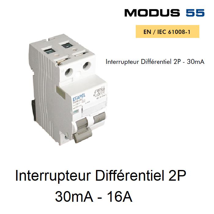 Interrupteur Différentiel 2P - 30mA - AC - 16A