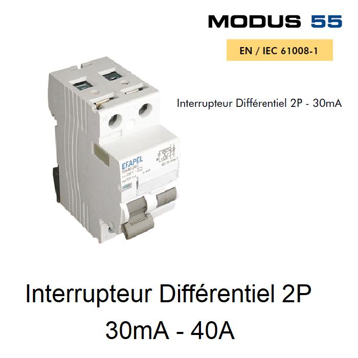 Interrupteur Différentiel 2P - 30mA - AC - 40A
