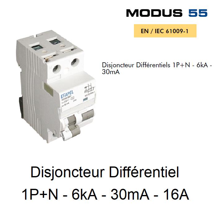 Disjoncteur Différentiel 1P+N - 6kA - 30mA - 16A