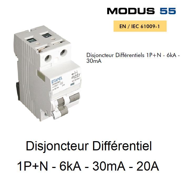 Disjoncteur Différentiel 1P+N - 6kA - 30mA - 20A