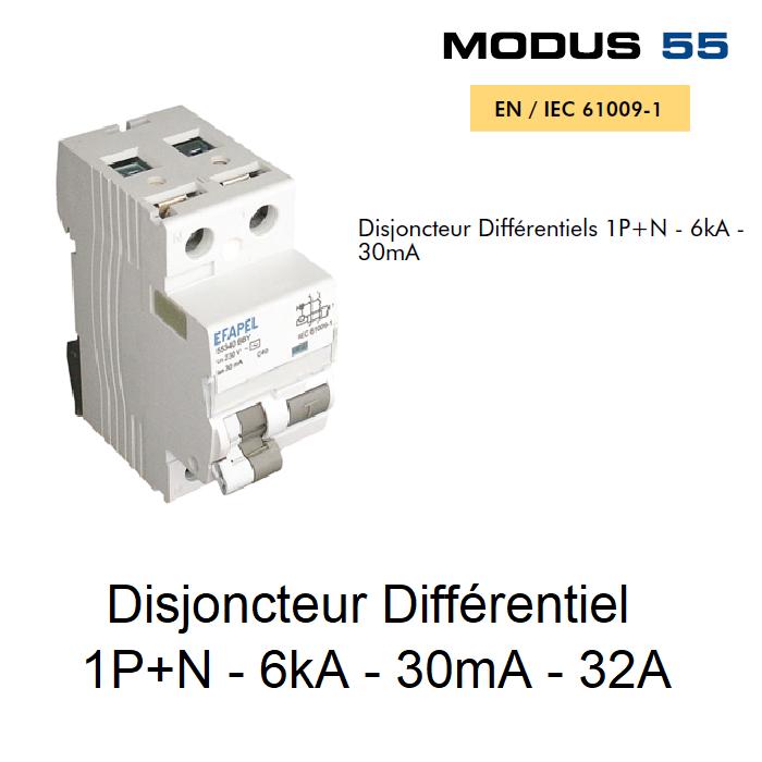 Disjoncteur Différentiel 1P+N - 6kA - 30mA - 32A