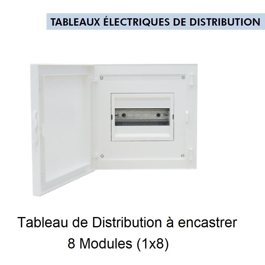 Tableau de Distribution à Encastrer Complet - 8 Modules (1x8)