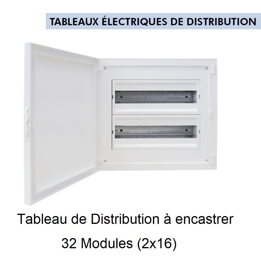Tableau de Distribution à Encastrer Complet - 32 Modules (2x16)